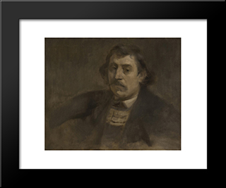 Portrait Of Paul Gauguin: Modern Black Framed Art Print by Eugene Carriere