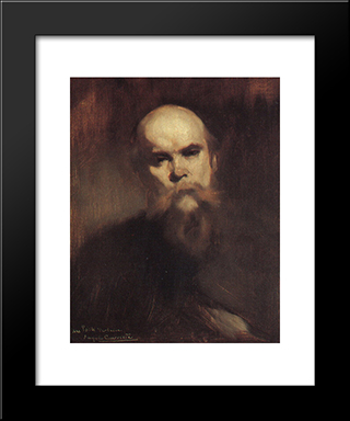 Portrait Of Paul Verlaine: Modern Black Framed Art Print by Eugene Carriere