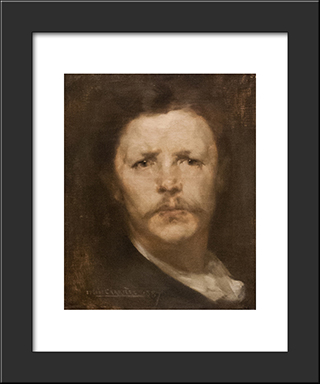 Self-Portrait: Modern Black Framed Art Print by Eugene Carriere
