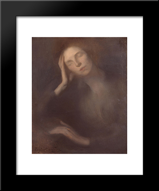 Woman Leaning On A Table: Modern Black Framed Art Print by Eugene Carriere