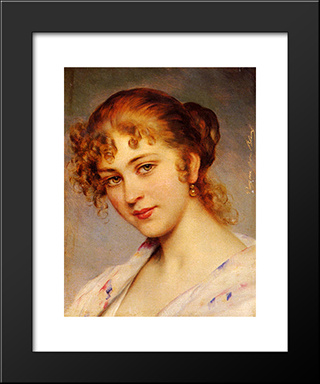 A Portrait Of A Young Lady: Modern Black Framed Art Print by Eugene de Blaas