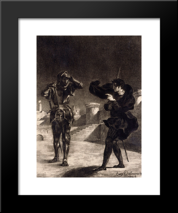 Hamlet Sees The Ghost Of His Father: Modern Black Framed Art Print by Eugene Delacroix