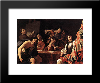 A Gathering Of Friends: Modern Black Framed Art Print by Eustache Le Sueur