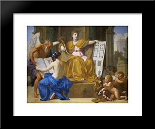Allegory Of Magnificence: Modern Black Framed Art Print by Eustache Le Sueur