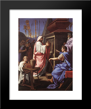 Caligula Depositing The Ashes Of His Mother And Brother In The Tomb Of His Ancestors: Modern Black Framed Art Print by Eustache Le Sueur