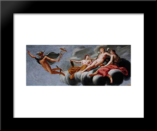 Cupid Ordering Mercury To Announce His Power To The Universe: Modern Black Framed Art Print by Eustache Le Sueur