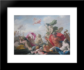 Marine Gods Paying Homage To Love: Modern Black Framed Art Print by Eustache Le Sueur