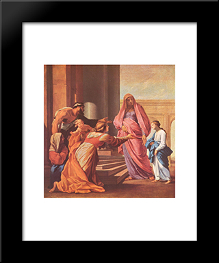 Presentation Of The Virgin In The Temple: Modern Black Framed Art Print by Eustache Le Sueur