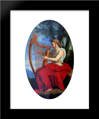 The Muse Calliope: Modern Black Framed Art Print by Eustache Le Sueur