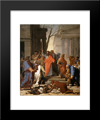 The Preaching Of St. Paul At Ephesus: Modern Black Framed Art Print by Eustache Le Sueur