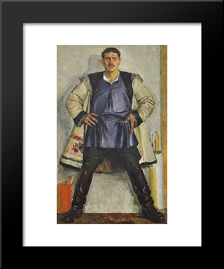 Self-Portrait In A White Coat: Modern Black Framed Art Print by Fedir Krychevsky