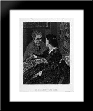 A Gentleman And A Lady (Aurelien Scholl And Marie Colombier): Modern Black Framed Art Print by Felicien Rops