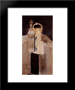 After Josephin Peladan, The Supreme Vice: Modern Black Framed Art Print by Fernand Khnopff