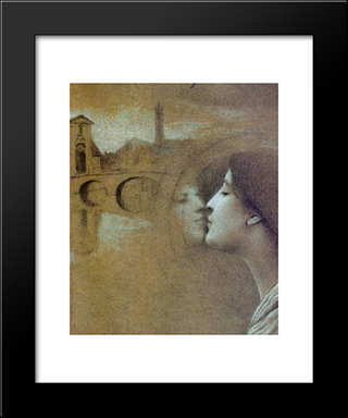 My Heart Cries For The Past: Modern Black Framed Art Print by Fernand Khnopff