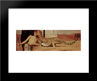 The Sphinx Or The Caresses: Modern Black Framed Art Print by Fernand Khnopff
