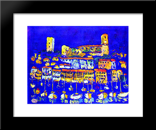 Cannes: Modern Black Framed Art Print by Fikret Mualla Saygi