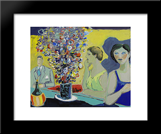 Unknown Title: Modern Black Framed Art Print by Fikret Mualla Saygi