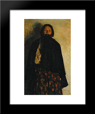 A Peasant Covering Up Her Mouth By Coat: Modern Black Framed Art Print by Filipp Malyavin