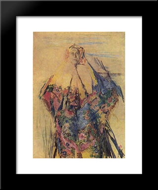 A Peasant Woman With A Patterned Headscarf: Modern Black Framed Art Print by Filipp Malyavin