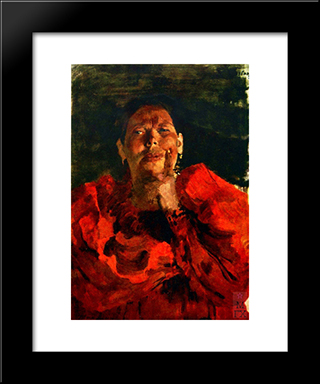 Peasant With Red Headscarf: Modern Black Framed Art Print by Filipp Malyavin