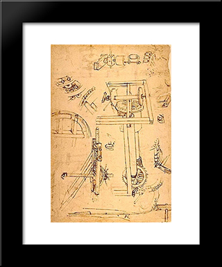 Sketches Of The Machines: Modern Black Framed Art Print by Filippo Brunelleschi