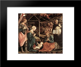 Adoration Of The Child With Saints: Modern Black Framed Art Print by Filippo Lippi