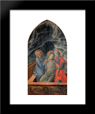Dead Christ Supported By Mary And St. John The Evangelist: Modern Black Framed Art Print by Filippo Lippi