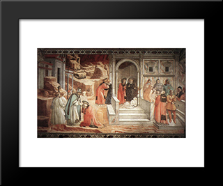 Disputation In The Synagogue: Modern Black Framed Art Print by Filippo Lippi