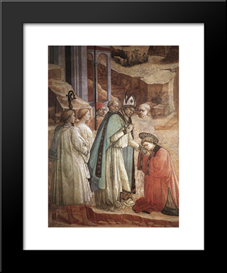 Disputation In The Synagogue (Detail): Modern Black Framed Art Print by Filippo Lippi