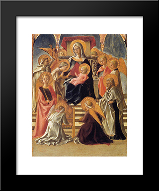 Madonna And Child Enthroned With Saints: Modern Black Framed Art Print by Filippo Lippi