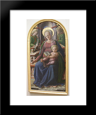 Madonna And Child Enthroned With Two Angels: Modern Black Framed Art Print by Filippo Lippi