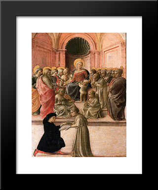 Madonna And Child With Saints, Angels And A Donor: Modern Black Framed Art Print by Filippo Lippi