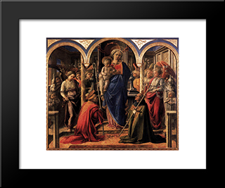 Madonna And Child With St. Fredianus And St. Augustine: Modern Black Framed Art Print by Filippo Lippi