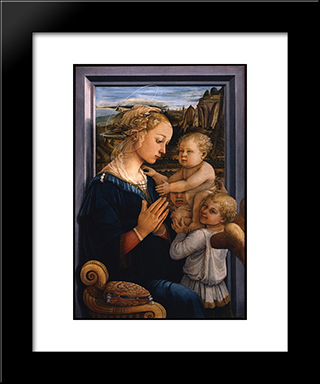 Madonna And Child With Two Angels: Modern Black Framed Art Print by Filippo Lippi