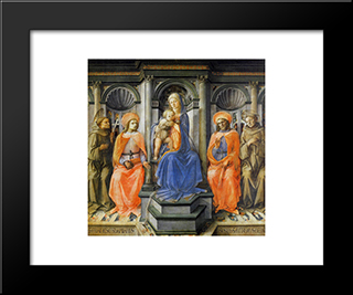 Madonna Enthroned With Saints: Modern Black Framed Art Print by Filippo Lippi
