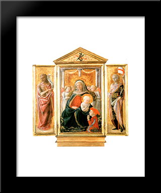 Madonna Of Humility With Angels And Donor: Modern Black Framed Art Print by Filippo Lippi