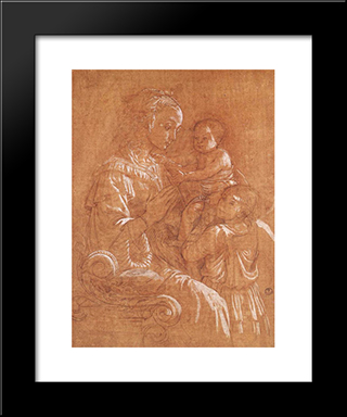Madonna With The Child And Two Angels: Modern Black Framed Art Print by Filippo Lippi