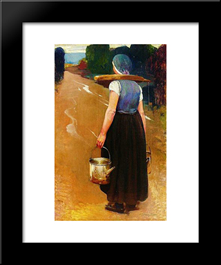 A Breton Woman: Modern Black Framed Art Print by Firmin Baes