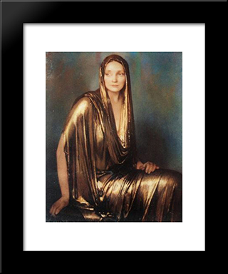 Lady In Gold: Modern Black Framed Art Print by Firmin Baes