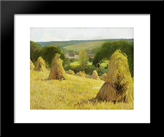 Sheaves Of Corn: Modern Black Framed Art Print by Firmin Baes