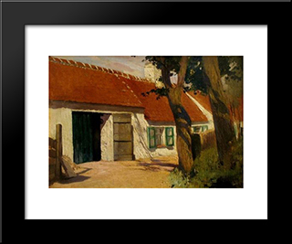Sunny Farm: Modern Black Framed Art Print by Firmin Baes