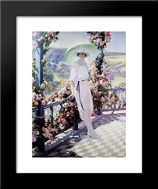 Sunny Terrace: Modern Black Framed Art Print by Firmin Baes