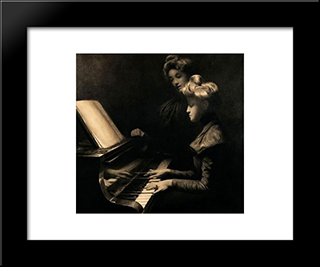 The Piano Lesson: Modern Black Framed Art Print by Firmin Baes