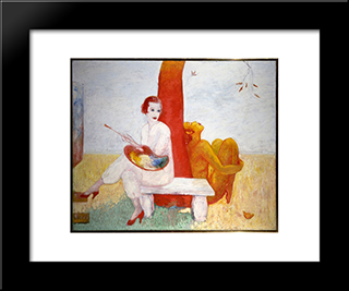 Self-Portrait With Palette (Painter And Faun): Modern Black Framed Art Print by Florine Stettheimer