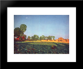 At The Grain Harvest: Modern Black Framed Art Print by Ford Madox Brown