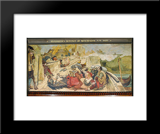 Bradshaw'S Defence Of Manchester: Modern Black Framed Art Print by Ford Madox Brown