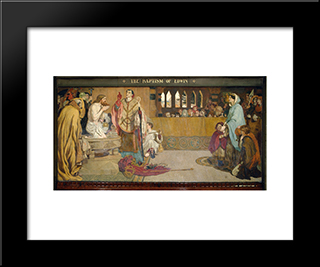 Cartoon For The Baptism Of Edwin (C.585-633) King Of Northumbria And Deira: Modern Black Framed Art Print by Ford Madox Brown