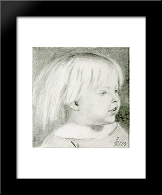 Cathy Madox Brown At The Age Of Three Years: Modern Black Framed Art Print by Ford Madox Brown