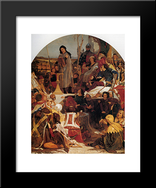 Chaucer At The Court Of Edward Iii: Modern Black Framed Art Print by Ford Madox Brown