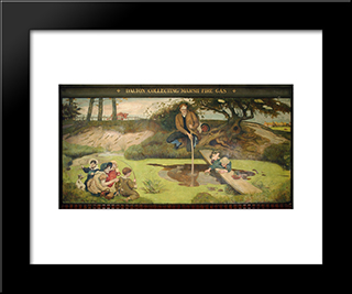 Dalton Collecting Marsh Fire Gas: Modern Black Framed Art Print by Ford Madox Brown